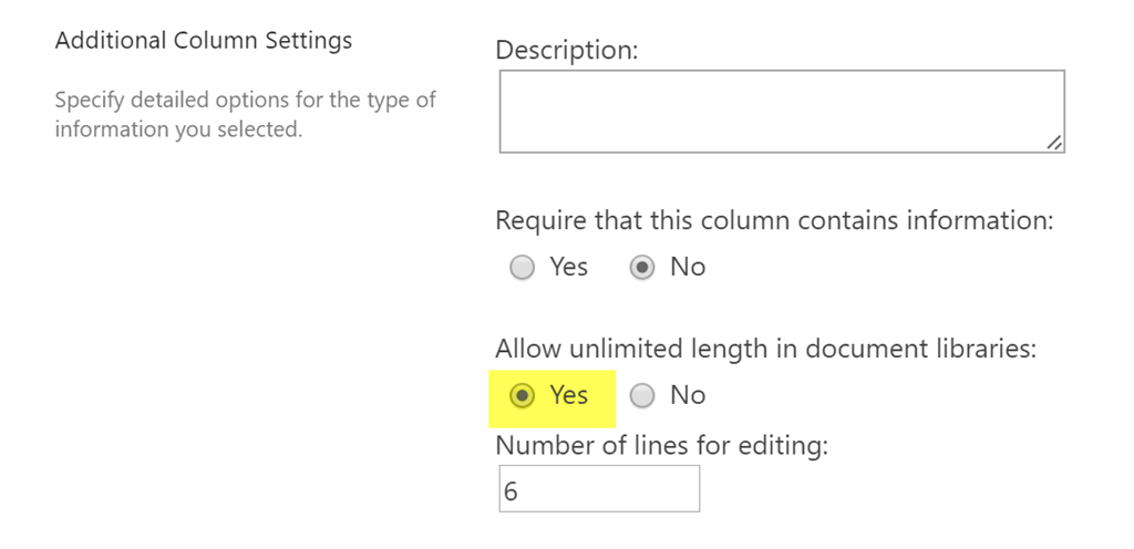 Multiple Lines Of Text Fields In Document Libraries In Sharepoint