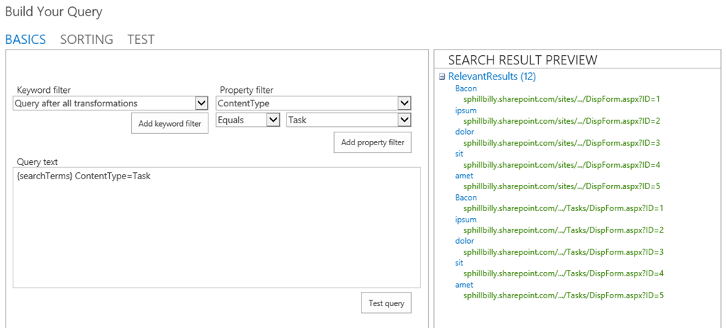 SharePoint 2013 Search by Content Type Using Query Builder