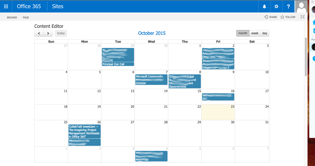 Display Events from an Outlook Calendar in SharePoint using Office